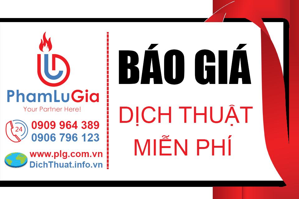 Báo giá dịch thuật miễn phí