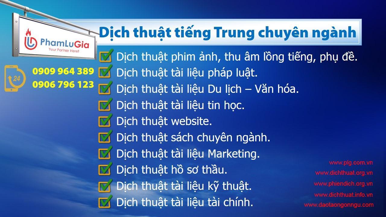Dịch thuật tiếng Trung chuyên ngành