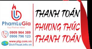 Thanh toán tại Dịch thuật PLG