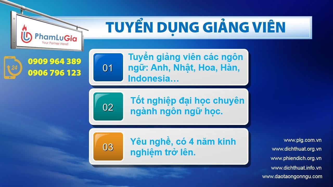 Tuyển dụng giảng viên các ngôn ngữ