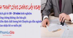 Dịch thuật công chứng lấy ngay